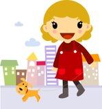 Muchacha con el amigo del perro Fotos de archivo