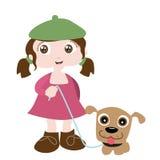Muchacha con el amigo del perro Imágenes de archivo libres de regalías