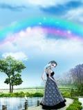 Muchacha con el arco iris Fotos de archivo libres de regalías