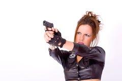 Muchacha con el arma Imagenes de archivo