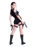 Muchacha con el arma Fotografía de archivo