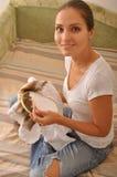 Muchacha con el aro a disposición Foto de archivo libre de regalías
