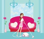 Muchacha con el aspirador inalámbrico libre illustration