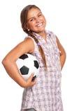 Muchacha con el balón de fútbol Fotografía de archivo libre de regalías