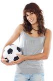 Muchacha con el balón de fútbol Imagen de archivo libre de regalías