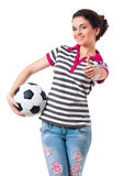 Muchacha con el balón de fútbol Imagenes de archivo