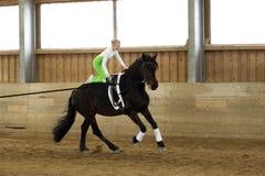 Muchacha con el banco en un caballo Foto de archivo