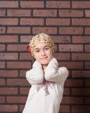 Muchacha con el bigote de la leche Imagen de archivo libre de regalías