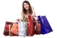 Muchacha con el bolso de compras. Fotos de archivo libres de regalías