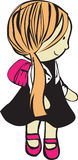 Muchacha con el bolso de escuela Fotos de archivo libres de regalías
