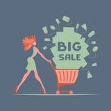 Muchacha con el carro de compras libre illustration