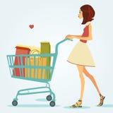 Muchacha con el carro de compras Ilustración del vector Foto de archivo