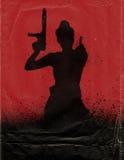 Muchacha con el cartel de película del arma Foto de archivo libre de regalías