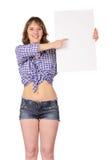 Muchacha con el cartel en blanco. Imagen de archivo libre de regalías