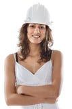 Muchacha con el casco Fotos de archivo