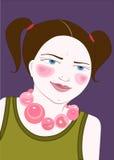 Muchacha con el collar rosado stock de ilustración