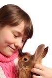 Muchacha con el conejo Imagen de archivo