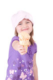 Muchacha con el cono de helado Foto de archivo libre de regalías