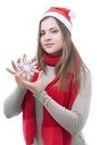 Muchacha con el copo de nieve en su mano Imágenes de archivo libres de regalías