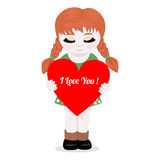 Muchacha con el corazón. Imágenes de archivo libres de regalías