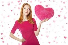 Muchacha con el corazón del juguete Imagen de archivo