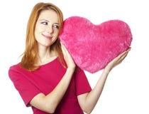 Muchacha con el corazón del juguete Fotografía de archivo libre de regalías