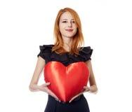 Muchacha con el corazón del juguete Imagen de archivo libre de regalías