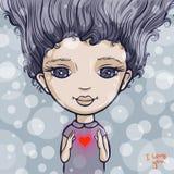 Muchacha con el corazón rojo Foto de archivo libre de regalías