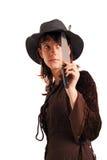Muchacha con el cuchillo Foto de archivo libre de regalías