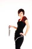 Muchacha con el cuchillo imágenes de archivo libres de regalías