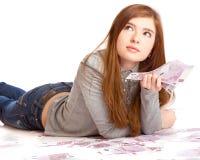 Muchacha con el dinero Fotografía de archivo libre de regalías