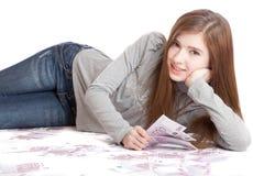 Muchacha con el dinero Imagen de archivo libre de regalías