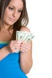 Muchacha con el dinero Imagenes de archivo