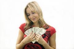Muchacha con el dinero Imágenes de archivo libres de regalías