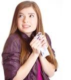 Muchacha con el dinero en manos Imagen de archivo libre de regalías
