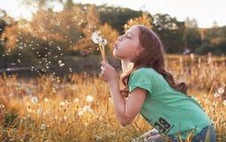 Muchacha con el dundelion en parque del otoño Foto de archivo