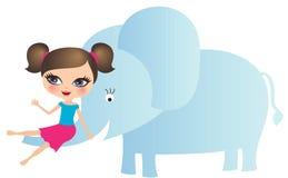 Muchacha con el elefante Imagenes de archivo