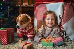 Muchacha con el enchufe Russel del perro más terier en casa con un árbol de navidad, Fotos de archivo libres de regalías