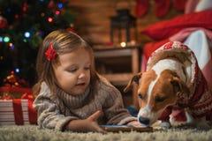 Muchacha con el enchufe Russel del perro más terier en casa con un árbol de navidad, Foto de archivo libre de regalías