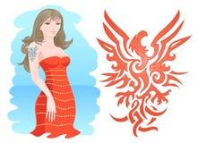 Muchacha con el fuego Eagle Tattoo stock de ilustración
