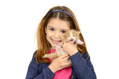Muchacha con el gato del bebé Imagenes de archivo