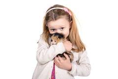 Muchacha con el gato del bebé Imágenes de archivo libres de regalías