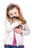 Muchacha con el gato del bebé Fotografía de archivo libre de regalías