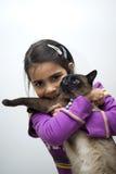 Muchacha con el gato siamés Fotografía de archivo libre de regalías