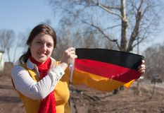 Muchacha con el indicador de Alemania Fotografía de archivo libre de regalías