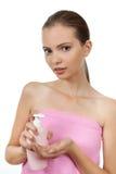 Muchacha con el jabón Foto de archivo libre de regalías