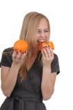 Muchacha con el jabón y la naranja Imágenes de archivo libres de regalías