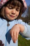 Muchacha con el ladybug Fotografía de archivo libre de regalías