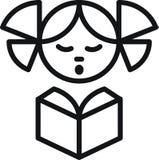 Muchacha con el libro stock de ilustración