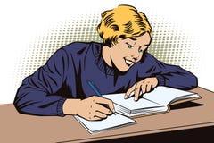 Muchacha con el libro Colegiala en la sala de clase ilustración del vector